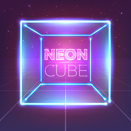 Neon 80s styled cube on retro game landscape. Vector glowing box. Stockfoto