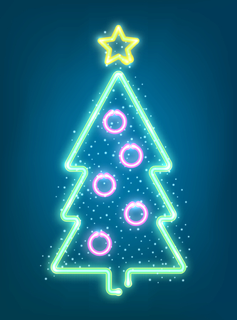 Neon Xmas signboard. Vector illustration with glowing christmas tree. Stok Fotoğraf