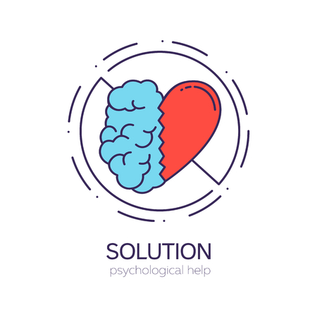 United brain and heart halves. Balance between intelligence and emotions. Solution vector logo.
