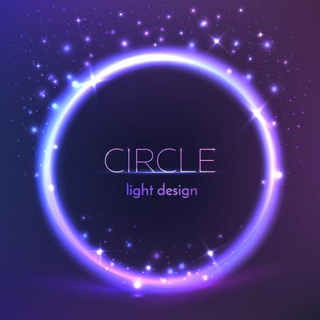 Round shiny frame background. Vector circle light design.