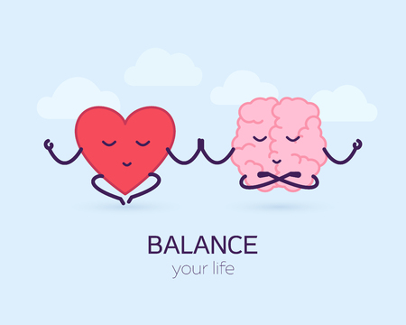 Cute brain and heart meditation. Logic and feel, cartoon characters. Balance your life vector illustration.