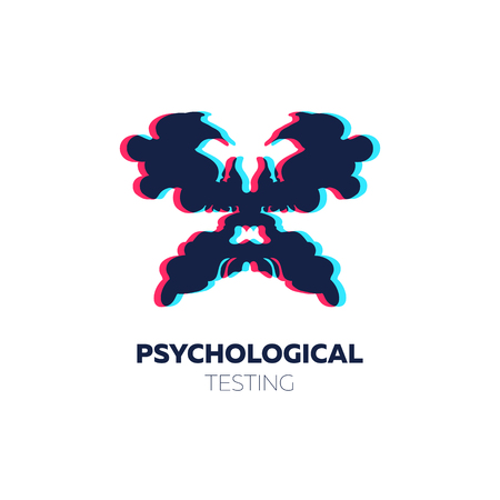 Psychological icon. Vector illustration with rorschach test inkblots.