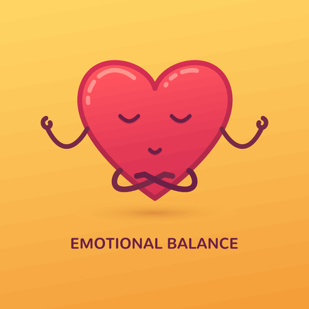 Vector cartoon illustration of meditating heart. Emotional balance card.