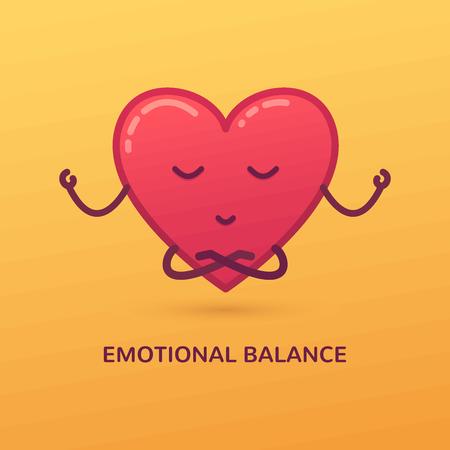 Vector cartoon illustration of meditating heart. Emotional balance card.