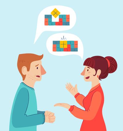 Der Psychologe und der Kunde. Psychotherapie. Vektor-illustration Mann und Frau reden, um die Lösung zu finden.