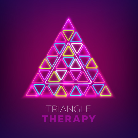 Glowing triangles. Neon new retro wave sign. Vector illustration for club, bar design.