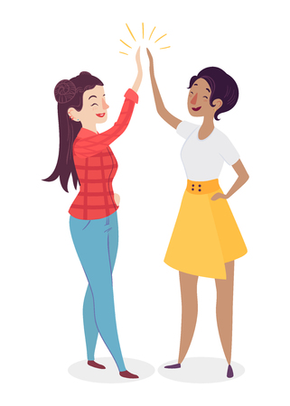 Women giving high five. People having a vibrant social life. Human interaction concept. Female team.