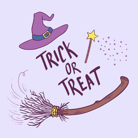 Trick or Treat. Hand drawn lettering phrase with witch hat and broom. Halloween theme greeting card.