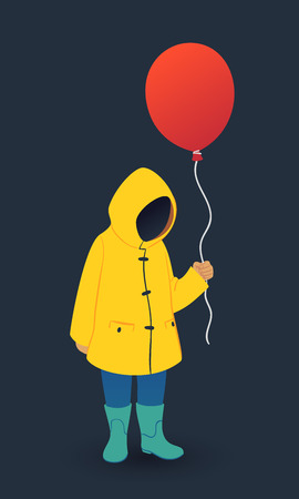 Faceless boy in yellow raincoat holds red balloon. Horror vector illustration on dark background.