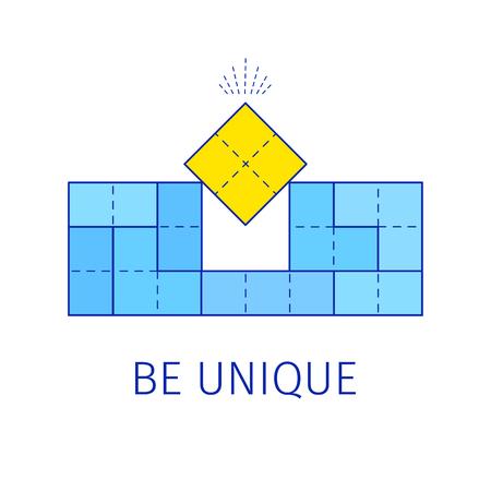 Be unique concept with tetris shapes. Vector illustration.