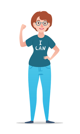 Cartoon woman with glasses in t-shirt with i can lettering. Vector character. Stok Fotoğraf