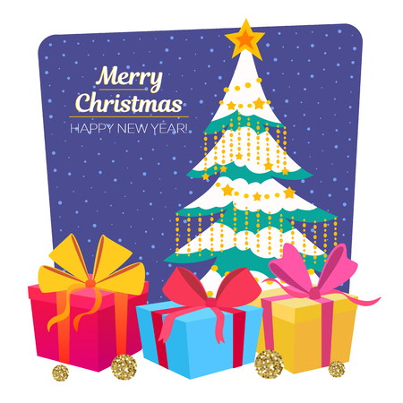 Merry Christmas tree and gift boxes. Xmas and happy New Year greeting card. Vector Illustration. Stockfoto
