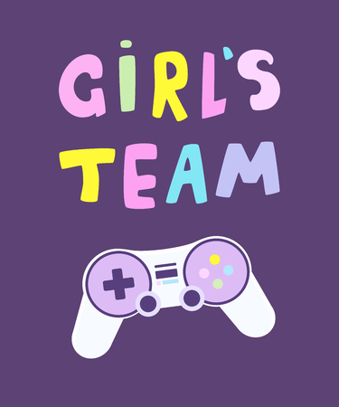 Girls team gamer background. Cute card with colorful lettering and game controller. Vector illustration. Stok Fotoğraf