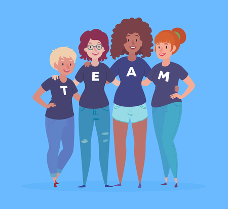 Illustration of a diverse group of women with team lettering on their t-shirts.