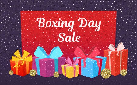 Happy Boxing day sale design with gift boxes. Vector illustration