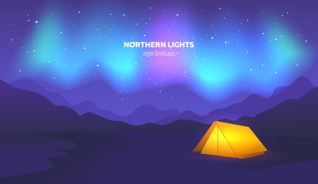 Camp tent under beautiful northern lights in night sky. Vector illustration