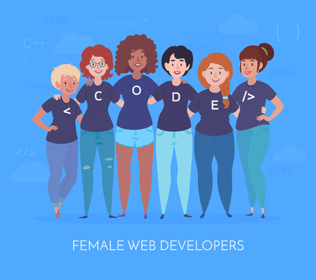 Female web developers are hugging. Team in t-shirts with code lettering. Vector illustration in a flat style Çizim