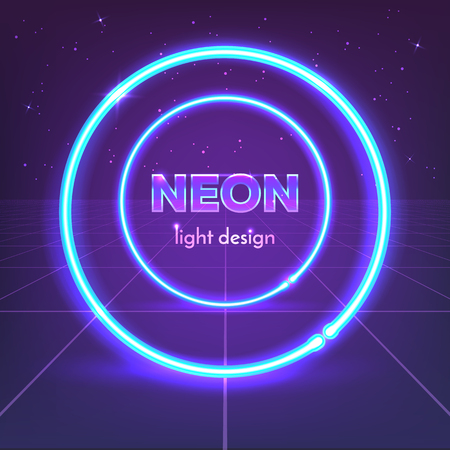 Retro 80s neon circles on digital landscape. Vector illustration