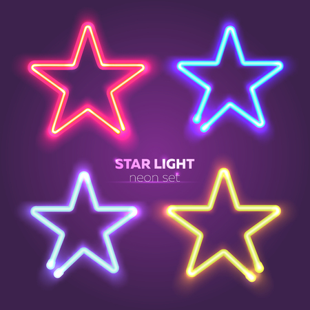 Neon star set. Bright colorful sign boards for your design. Vector illustration Çizim