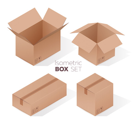 Isometric cardboard box set with realistic 3d effect. Vector illustration on white background. Stock Illustratie