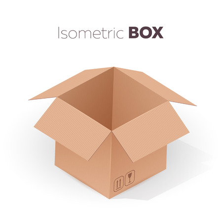 Open empty cardboard box isometric projection. Vector illustration on white background.