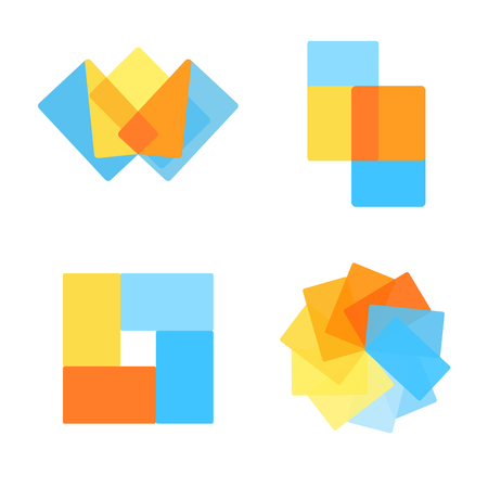 Vector geometric abstract logo design elements with multiply shapes. Çizim