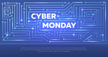 Sale technology banner for cyber monday. Vector flyer.