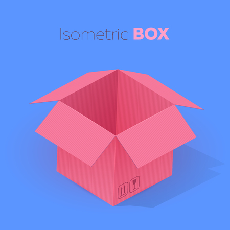 Open empty pink cardboard box isometric projection. Vector illustration on blue background.