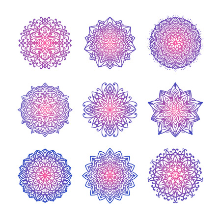Set of nine vector mandalas with pink and violet gradient.