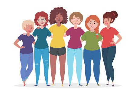 Group of women are hugging. Female together. Friendship vector illustration. Stock Illustratie
