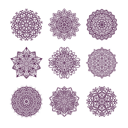 Set of nine vector mandalas isolated on white background. Çizim