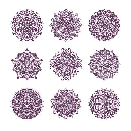Set of nine vector mandalas isolated on white background. Stock Illustratie