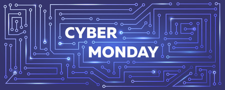 Vector Cyber monday banner with printed circuit board imitation.