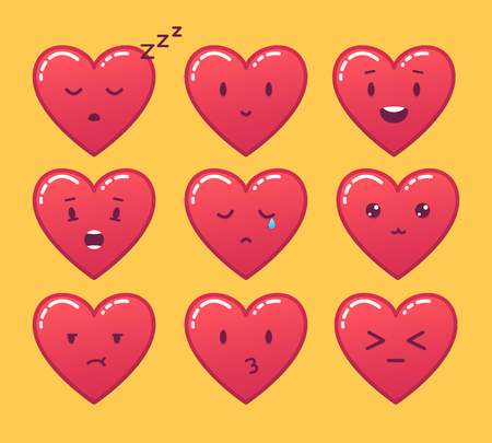 Set of red heart emoticons. Vector emoji on yellow background Çizim