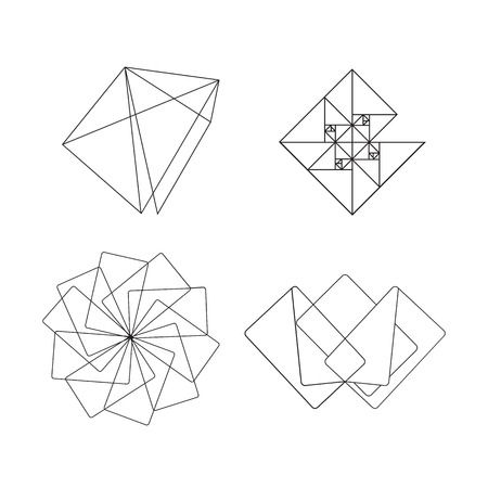 Set of vector abstract geometric signs. Thin line. For identity. Simple shape.