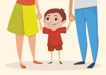 Little happy boy is holding hands with parents and looking up. Vector illustration.