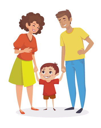 Happy family. Little boy holding hands with parents. People are laughing. Vector illustration. Çizim