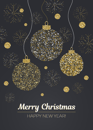 Merry Christmas and Happy New Year card with glamour golden glitter balls and snowflakes on black background