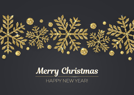 Vector Merry Christmas and Happy New Year greeting card design with gold snowflake decoration for holiday season.