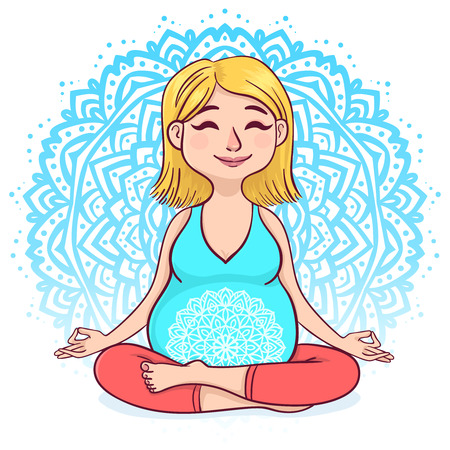Pregnant blond woman in lotus position with mandala background vector illustration Çizim