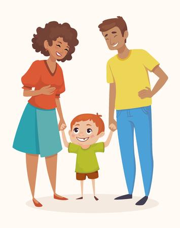 행복 한 가족 벡터 일러스트 레이 션의 만화 스타일 일러스트