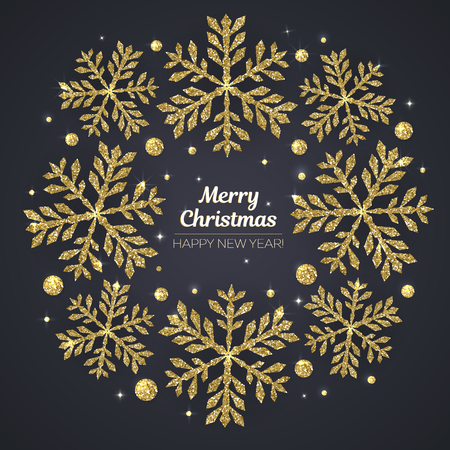 Vector Merry Christmas and Happy New Year greeting card. Golden snowflakes on black background.