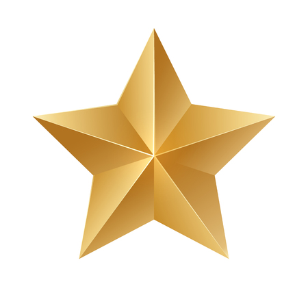 Gold star. Vector sign on white background. Çizim