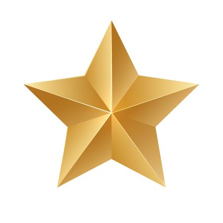 Gold star. Vector sign on white background. Stock Illustratie