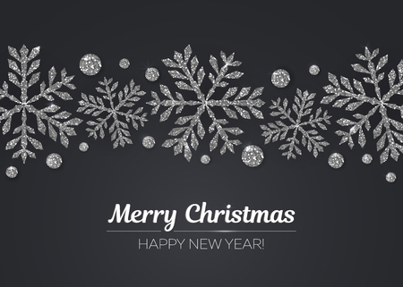Vector Merry Christmas and Happy New Year greeting card design with silver snowflake decoration for holiday season. Çizim