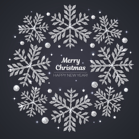 Vector Merry Christmas and Happy New Year greeting card. Silver snowflakes on black background.
