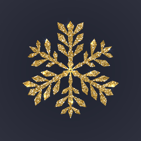 Gold snowflake on dark background. Christmas snow with glitter texture. Xmas vector illustration Çizim