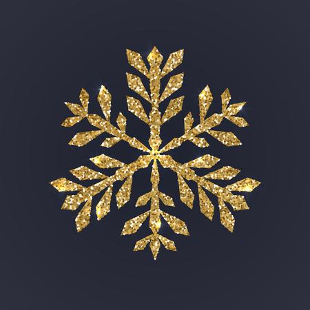 Gold snowflake on dark background. Christmas snow with glitter texture. Xmas vector illustration Stock Illustratie