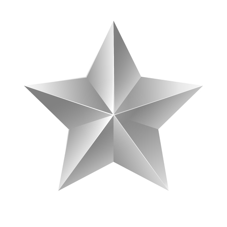 Silver star. Vector sign on white background. Çizim