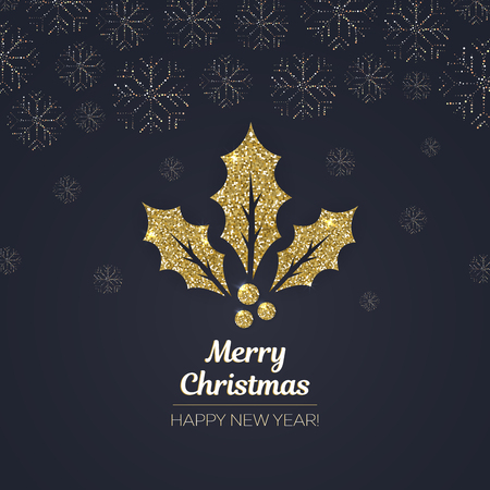Merry Christmas and Happy New Year greeting card, gold holly leaf made of golden glitter dust on black background Çizim